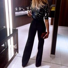 Classy look high waist black pants with glitter tye and dye blouse,