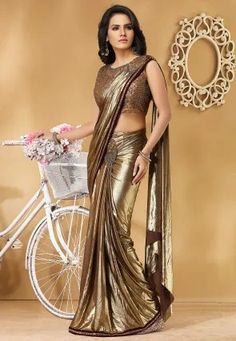 Pre-Stitched Hand Embroidered Lycra Saree in Golden Saree Draping Styles, Drape Sarees, Silk Sarees, Silk Satin Dress, Satin Saree, Cotton Saree, Golden Saree, Satin Dressing Gown, Saree Wearing