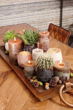 herbstdeko tisch tablett Dekoration Tablett Tray with candles and tealights