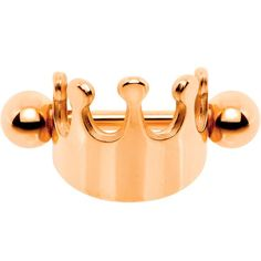"16 Gauge 1/4"" Rose Gold PVD Regal Crown Helix Cuff Cartilage Earring"