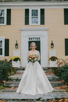Elegant gown: http://www.stylemepretty.com/new-hampshire-weddings/2015/04/01/romantic-fall-wedding-at-the-bedford-village-inn/ | Photography: Emily Delamater - http://emilydelamater.com/