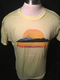 Vintage 1980's Western Mountains Sun T-Shirt 50/50 Size Large Thin Soft by 413productions on Etsy