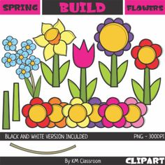 Build a flower clipart set includes: - 5 flowers (flower, stem, leaves) - 7 ten petal flowers - 7 five petal flowers - 7 tulip petals - big pot - small pot - 2 stem - 4 leaves + line art version of each image. 50 images (33 color + 17 line art). All images are in PNG format, transparent, high resolution 300dpi (will look crisp enlarged).