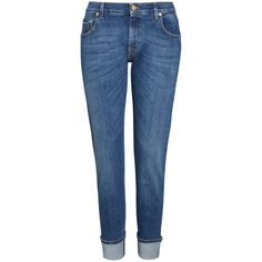 7 For All Mankind Relaxed Skinny Boyfriend Jeans, Selvedge Mid (£225) ❤ liked on Polyvore featuring jeans, ripped skinny jeans, torn boyfriend jeans, destroyed jeans, distressed skinny jeans and mid rise boyfriend jeans