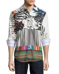 Robert Graham Long-Sleeve Floral Woven Sport Shirt, Multi, Men's, Size: Small