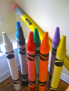 Craft project - make your own giant crayons by recycling cardboard carpet tubes, great for kids rooms!