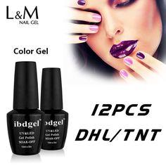 DHL Frete grátis marca ibdgel moda cores para a escolha de uv gel unha polonês (10 cores + 1 base de casaco + 1 top coat) unhas de gel kit