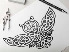 Celtic Owl 01 Sketch by Sergey Arzamastsev
