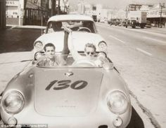 James Dean and his mechanic Rolf Weutherich, inside the 1955 Porsche 550 Spyder, shortly before the start of Dean's last ride. Porsche 550 Spyder, James Dean Photos, James Dean Style, Photo Star, Jimmy Dean, Marie Curie, Us Cars, Actors, In Hollywood