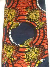 "African Batik Wax Fabric Arewa Nigeria 46"" X 120"" Orange Yellow Print Gorgeous"