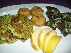 zucchini fritters, crabless cakes, spinach dip
