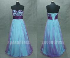purple prom dress blue prom dress A line dress long by sposadress, $228.00