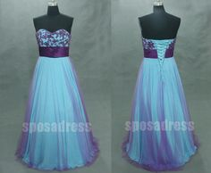 purple prom dress blue prom dress A line dress long by sposadress, $228.00