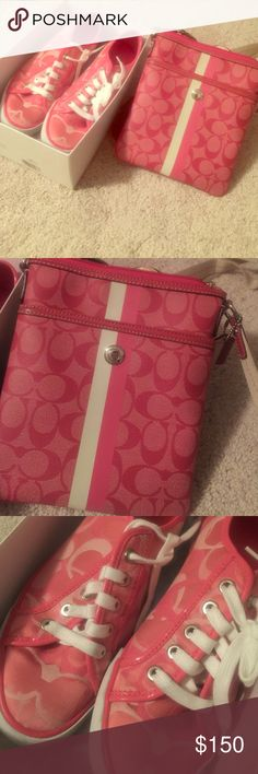 Authentic Coach set Coach shoes and crossbody bag, pink in good condition Coach Shoes Sneakers