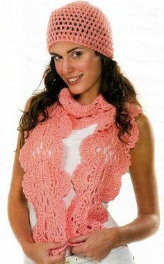 Grace y todo en Crochet: Scarf and Hat for those cool evenings ....Bufanda ...
