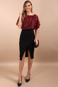 5d725d8c33a6 Lesley Red 2-in-1 Batwing Midi Dress. Boutique Stores, Virgo ...