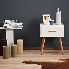 White Bedside Table Retro Design Drawer Vintage Wooden Bedroom Storage Cabinet