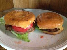 Doughnut Burgers - odd but very good! Doughnut Burger, Hamburger Patties, Cheeseburgers, Grease, Lettuce, Onion, Main Dishes, Fries, Cooking