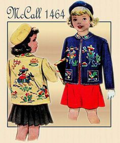 Vintage McCall Child's Embroidered Felt Jacket Pattern with Mexican Motif Dated Fashion Now, 1940s Fashion, Diy Fashion, Vintage Fashion, Mccalls Patterns, Vintage Sewing Patterns, Doll Clothes Patterns, Clothing Patterns, Mexican Fashion