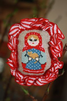 brooch - embroidered cross stitch