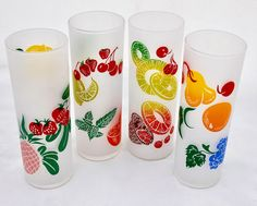 Four Vintage Federal Glass Frosted Fruit by CuriousAndVintage