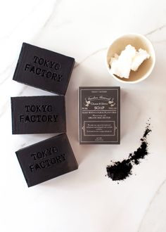 Detox Soap, Bamboo Charcoal Soap, with Organic Shea Butter in a box - 6 oz Cold Process Soap - Scented with Lemongrass Oil - Detox Soap - TOKYO FACTORY