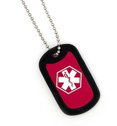 Red Medical Dog Tag Necklace