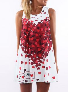 Fvogue Europe Top Selling Fashion Loose Sleeveless Heart Printing a Line Dress-----$8.99