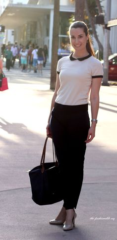 OOTD: Lincoln Road, South Beach MIA, Lacoste Office Chic Work Wear LongChamp Le Pliage Tote Banana Republic Sloan Pant