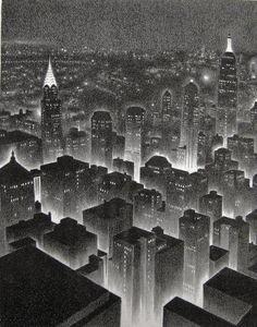 Manhattan Midnight. Lithograph, c. 1930.  Doctor Ojiplático. Ellison Hoover. New York Litographs