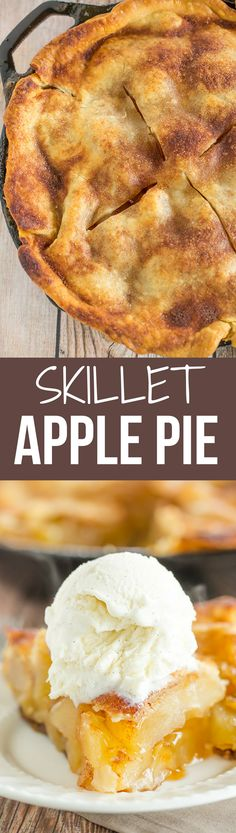 This Skillet Apple Pie is a quick and easy dessert recipe, and it's toffee-like sauce will melt your heart. ~ Brown Eyed Baker