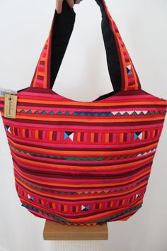 Pink and Red  Fabric Large Tote Bag/ Multicolor by Bubishanti