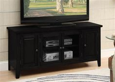 Christella Black Wood Glass Tv Stand