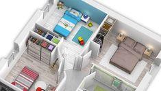 Plan maison moderne Bleuet - maison familiale Maisons Clair Logis Architecture, Loft, Bed, Furniture, Home Decor, House Template, Future House, Closet Built Ins, Blueberry