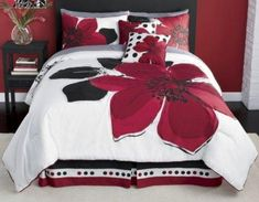 Grand Linen 12 Pieces Marisol Red Black White Comforter Bed-in-a-Bag Set Queen Size Bedding+Sheets+Accent Pillows Full Size Comforter Sets, Red Bedding Sets, Red Comforter, Queen Comforter Sets, Sheets Bedding, Bedroom Red, Bedroom Decor, Bedroom Stuff, Master Bedroom