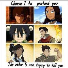 Oh goodness. How the heck can I choose? Ummmm Toph, Zuko or Mako ~Avatar Korra FB page