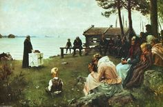 """Divine Service in the Uusimaa Archipelago"", Oil by Albert Edelfelt (1854-1905, Finland)"