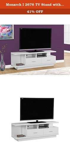 """Monarch I 2676 TV Stand with 2 Drawers, 60"""", White. Complete your home decor with the simple contemporary elegance of this chic white TV console. With ample surface area that can accommodate up to a 60"""" flat panel tv this piece will add style and functionality to any living room. Featuring 2 large storage drawers for DVDs, CDs or other AV accessories and 4 open concept shelves perfect for your electronic components this unit is sure to keep you organized in style. Sleek silver colored…"""