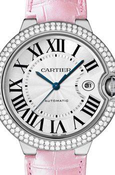 Montre Ballon Bleu de Cartier, grand modèle en or gris et diamants (42 mm).