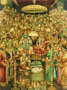 "Rare painting of ""Lord Rama and Seeta"" at time of marriage. Mysore Painting, Tanjore Painting, Om Namah Shivaya, Lord Sri Rama, Shri Ram Wallpaper, Lord Rama Images, Lord Hanuman Wallpapers, Shri Hanuman, Durga Kali"