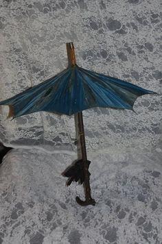 Wonderful Old Carved Wood Parasol For French Fashion Doll Umbrella Ornate