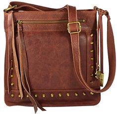 Lucky Brand Studded Leather Cross-body Shoulder Handbag