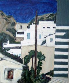 'Cretan Village View', acrylic on canvas, Hiawyn Oram 2011. SOLD