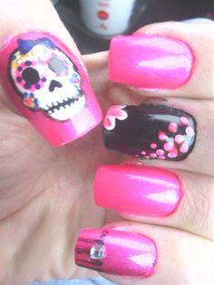 Sugar Skull - Nail Art Gallery nailartgallery.nailsmag.com by nailsmag.com