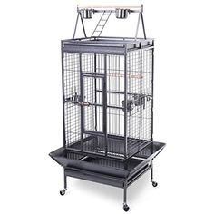 This Is New Designed Large Parrot Bird Cage. The Double Ladders And Two Cup Feeders On The Playtop Provide Lovely Birds To Play Inhabit And Feed Both Inside And Outside. This Cage Features A Single P...