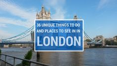 36 Unique Things To Do in London - including the best bars, restaurants and tourist attractions! Lots of things in this list I didn't even know about! Oh The Places You'll Go, Places To Travel, Places To Visit, Amsterdam, London Places, London Life, London 2016, Things To Do In London, England And Scotland