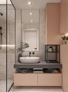 modern-bathroom-vanities with floting cabinets and concrete countertops tall mirror - - Washroom Design, Bathroom Design Luxury, Modern Bathroom Decor, Bathroom Layout, Modern Bathroom Design, Modern Interior Design, Bathroom Ideas, Bathroom Organization, Contemporary Design