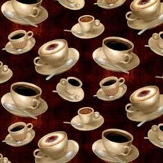 Coffee Break Coffee Cups Espresson Cotton Fabric by weiselect, $9.65