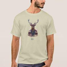 Deer Buck Head on Man Body Cool Hipster Monogram T-Shirt