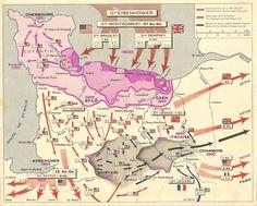 6 juin 1944 - carte Michelin de la bataille de Normandie